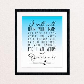 Oceans Song Lyric Print, Blue Gradient