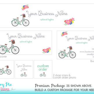 Chic Retro Bicycle & Flowers Etsy Branding Package